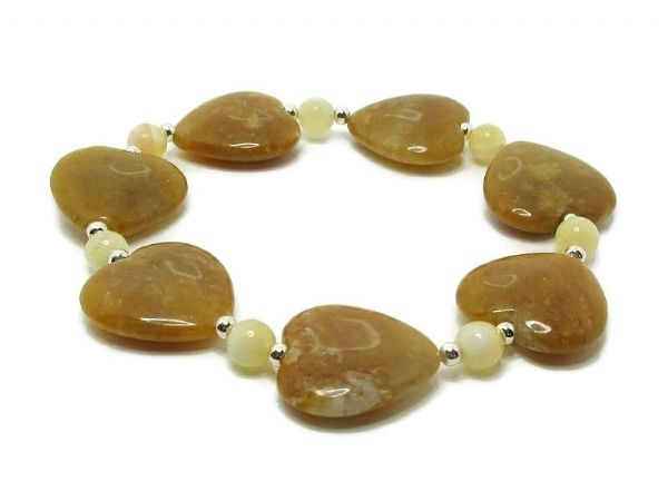 Tan Brown Golden Jade Heart Beads Bracelet With Sterling Silver | Silver Sensations